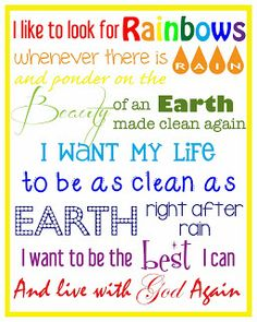 Larcie Bird: I Like to Look for Rainbows {LDS Baptism} Rainbows Baptism Song Free Printable