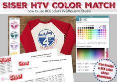 Most Accurate Siser HTV Color for Silhouette Studio Mock Ups (Free HEX Color Sheet