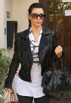 Kim Kardashian Leather Tote - Kim Kardashian Handbags Looks - StyleBistro