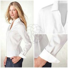 """Coldwater Creek White No Iron Shirt Pristine White Waist Detail No Iron Shirt.  ▪ CWC Size Small = Size 6 - 8  ▪ Bust: 39"""" inches.  All measurements are approximate. Brand New with Tag. Never worn.   FINAL PRICE ~ NO OFFERS    PRICE IS FIRM unless bundled    All Sales Final 