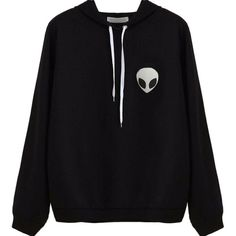 Froomer Alien Print Long sleeve Hooded Hoodie Sweater Black at Amazon... ($9.15) ❤ liked on Polyvore featuring tops, hoodies, long sleeve hoodie, patterned hoodies, hooded hoodie, print hoodies and sweatshirt hoodies