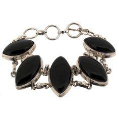 Black Onyx Sterling Silver .925 Gemstone Bracelet Adjustible Toggle Clasp | eBay