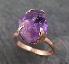 Amethyst Rose Gold Ring Purple Gemstone Recycled 14k by byAngeline