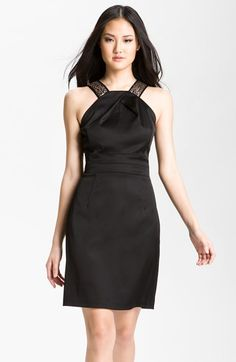 Donna Ricco Sequin Strap Satin Halter Dress (Petite) available at #Nordstrom