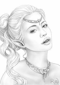 Cute Coloring Pages, Adult Coloring Pages, Coloring Books, Portrait Art, Portraits, Pinturas Disney, Art Drawings Sketches Simple, Face Design, Fashion Books