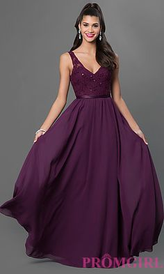 Low V-Neck Floor Length Mori Lee Dress at PromGirl.com