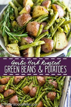 Buttery, crispy red potatoes and fresh green beans tossed with garlic and herbs make a simple, elegant, and flavorful side dish for any meal. Fresh Green Bean Recipes, Red Potato Recipes, Vegetable Recipes, Vegetarian Recipes, Healthy Recipes, Healthy Food, Oven Green Beans, Baked Green Beans, Green Beans And Potatoes