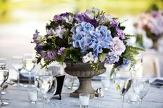 Purple and Blue Hydrangea Wedding Centerpiece Blue Hydrangea Centerpieces, Purple Hydrangea Wedding, Hydrangea Bridal Bouquet, Purple Wedding Centerpieces, Wedding Decorations, Blue Wedding, Pool Wedding, Wedding Bouquets, November Wedding Flowers