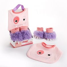 Favors4Everything.com - Chomp and Stomp Monster Bib and Booties Gift Set (Girl), $18.00 (http://www.favors4everything.com/chomp-and-stomp-monster-bib-and-booties-gift-set-girl/)