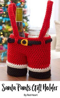 Santa Pants Gift Holder free crochet pattern in Super Saver.