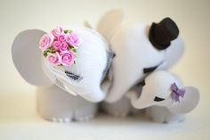 Elephant Family Wedding/Anniversary Cake Topper by TopThatCakeOff