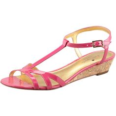 kate spade new york violet cork wedge sandal, pink ($228) ❤ liked on Polyvore