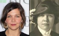 Celebs and their Historical Doppelgangers: Maggie Gyllenhaal and Rose Wilder Lane Celebrity Twins, Celebrity Look Alike, Maggie Gyllenhaal, Jennifer Lawrence, Michael Jackson, Famous Celebrities, Celebs, Divas, Tommy Lee Jones
