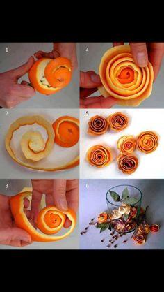 Roses fait de peaux d'orange séchés.