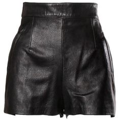 Preowned Moschino Vintage Black Leather High Waisted Shorts (2.470 RON) ❤ liked on Polyvore featuring shorts, skirts, bottoms, pants, black, high-rise shorts, zipper shorts, moschino, moschino shorts and zip shorts