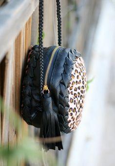 Leopard Pony skin Round Leather Bag  Purse with by EleannaKatsira