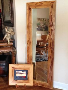 Full Length Mirror in Pecky Cypress Wood Frame