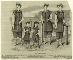Bathing costumes.  Jun. 1883.  The queen. [s.n.] 1861-) .    Everyone in sandals (seriously, what happened to the lower halves of their bodies!)