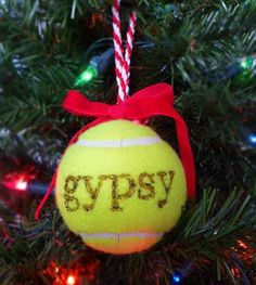 Personalized Pet Gift | Customize a tennis ball with your pet's name and create a special pet ornament for your tree (and don't worry, you could also use fabric paint or markers instead of a wood-burning pen to get this same look).