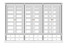 Maatwerk boekenkast met glazen deuren afmeting H 240 cm x B 330 cm x D 40 cm - Inndoors Meubelen en Interieur
