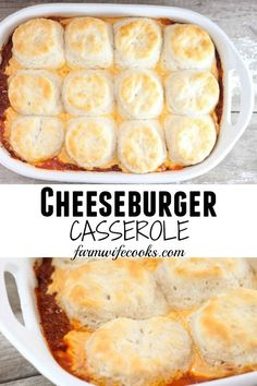 This Cheeseburger Casserole with biscuits is an easy main dish recipe that everyone will love!
