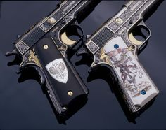White and black knights. 1911 a1. .45 autos.
