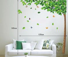 GIANT Green Tree Wall Sticker Decal Removable by TopWallDesigns
