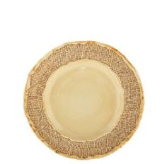 """Jute Salad Plate    8.75"""" Diameter    An organic-inspired collection, Jute is created by pressing pieces of actual jute bags onto each mold for amazing texture. Dishwasher safe."""