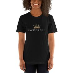 Powerful Short-Sleeve Unisex T-Shirt Curvy - Black / 2XL