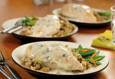 Campbell's One-Dish Chicken & Stuffing Bake Recipe - this was sooooo good!!! I made with Cream of Chicken instead of Cream of Mushroom.
