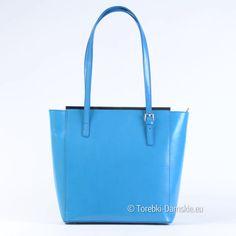 93d930799508c Niebieska torebka damska ze skóry produkcji włoskiej