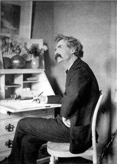 Vintage Photos of Famous Authors Writing: Mark Twain
