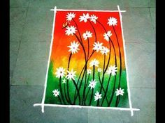 how to make beautiful flowers poster rangoli design Latest Rangoli Design For diwali and Laxmi puja. Find more latest, simple and beautiful rangoli design te. Indian Rangoli Designs, Rangoli Designs Latest, Rangoli Designs Flower, Flower Rangoli, Beautiful Rangoli Designs, Latest Rangoli, Diya Rangoli, Rangoli Ideas, Free Hand Rangoli Design