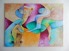 Arte en madera ORIGINAL. Óleo abstracto 30 cm x 40 por ArtEstrela
