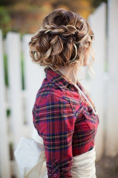blonde braided up-do + flannel and pearls