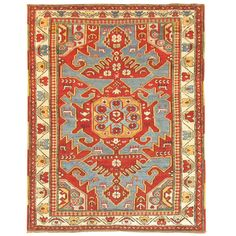 Antique Caucasian Rug | From a unique collection of antique and modern caucasian rugs at https://www.1stdibs.com/furniture/rugs-carpets/caucasian-rugs/