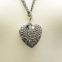 "Love Story  Size: 2""x2""  Silver Finish, Scrolled Heart  $15.00    http://www.thebluezebra.com  Free Shipping! To Canada and USA"