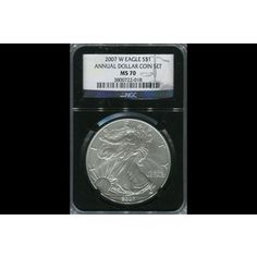 Shop 2007-W American Silver Eagle from Annual Dollar Set Retro Black CoreMS70/NGC and other jewelry, art, coins, rugs and real estate at www.aantv.com