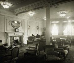 Titanic -- Reading room.  The Titanic's chief designer Thomas Andrews was last seen in one of the reading rooms.  When it became clear that the ship would inevitably sink, a housemaid offered Andrews a life jacket, which he refused.