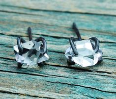 Oxidized Sterling Silver herkimer diamonds, which aren't really diamonds but are quartz crystals found in New York