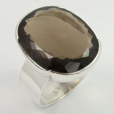Beer Quartz 10mm Round Faceted 925 Sterling Silver Plated Bezel Ring