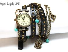 BOHO TIME-Handmade BLACK Leather Wrapped multi chains Watch Bracelet/Vintage style/Bohemian/statement piece/Buddhist inspired. $45.00, via Etsy.