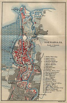 Map of Surabaya, Indonesia, from Guide to the Dutch East Indies by Dr. J.F. van Bemmelen and G.B. Hoover, Luzac & Co, London 1897. Courtesy of the Perry-Castañeda Library Map Collection, University of Texas at Austin.