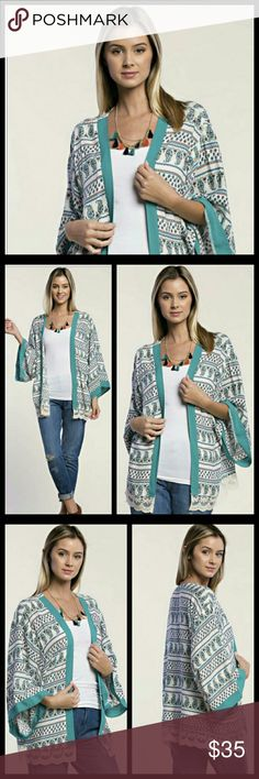 Turquoise and Paisley and Lace Kimono Beautiful fabric! Beautiful colors!  Material: 100% Rayon. Hand wash separately in cold water. Hang to dry.    Tops