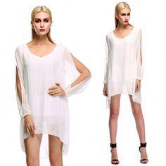 Stylish Lady Women's Casual New Fashion Long Sleeve V-neck Sexy Loose Dress