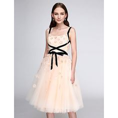 9f5497223e2c852 [$89.99] A-Line Straps Knee Length Tulle Cocktail Party / Prom Dress with  Flower by TS Couture®. Платья Для Выпускной ...