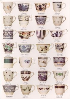 A variety of tea cups