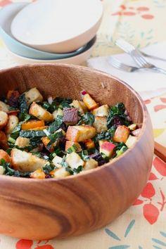 Winter Panzanella -- kale, butternut squash, beets, tart apple, red onion, day-old bread