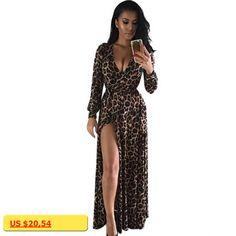 Female Sexy Leopard Dress Women High Split Vestido Bandage Dresses Bodycon V Neck Evening Party Dress Boho Style Long Robe Femme
