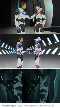 Notice the difference in distance: comfortable distance with Keith, respectful distance with Allura...and wary distance with Shiro(?)